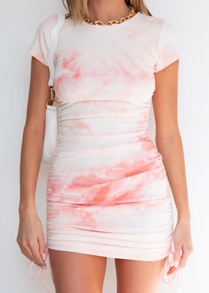Baddie Mini Dress - Pink Tie Dye