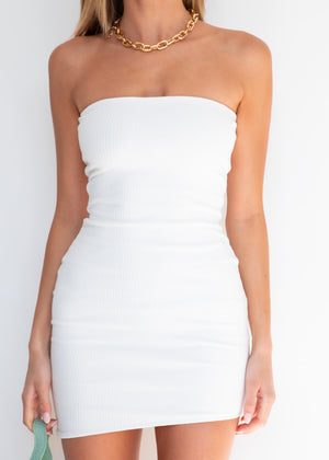It's Our Time Strapless Dress - White