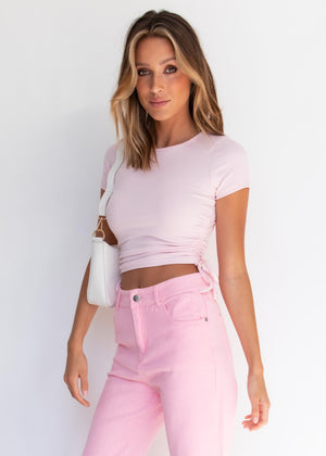 Addley Ruched Crop  - Pink