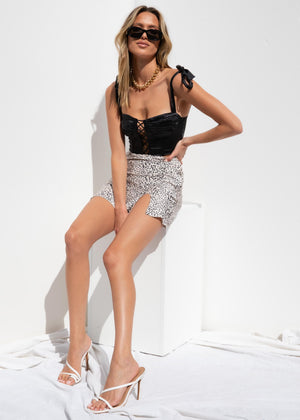 Wild One Mini Skirt - Nude Leopard