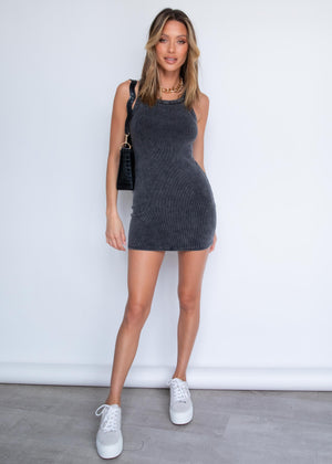 Kruz Ribbed Dress - Black Wash