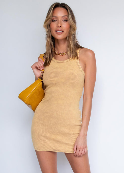 Kruz Ribbed Dress - Mustard Wash