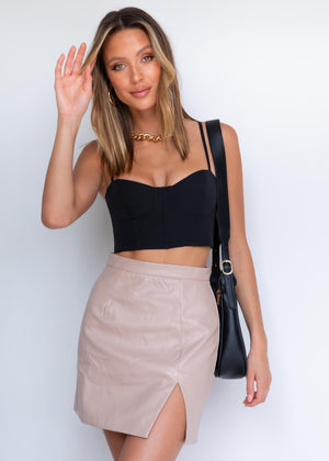 Mya PU Mini Skirt - Nude