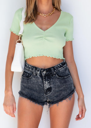 Stacey Knit Crop - Lime