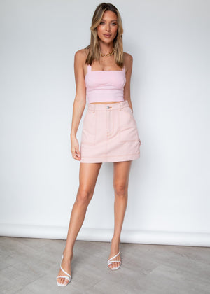 It Must Be Love Halter Crop  - Pink