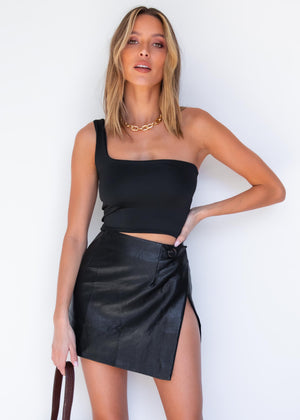 Lina One Shoulder Top - Black