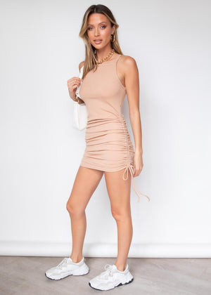 Yonce Ruched Mini Dress - Camel