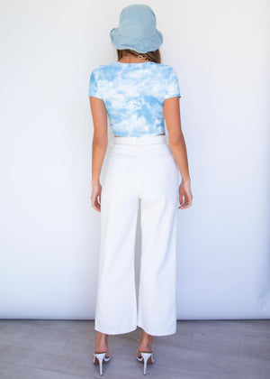Remi Ruched Crop - Blue Tie Dye