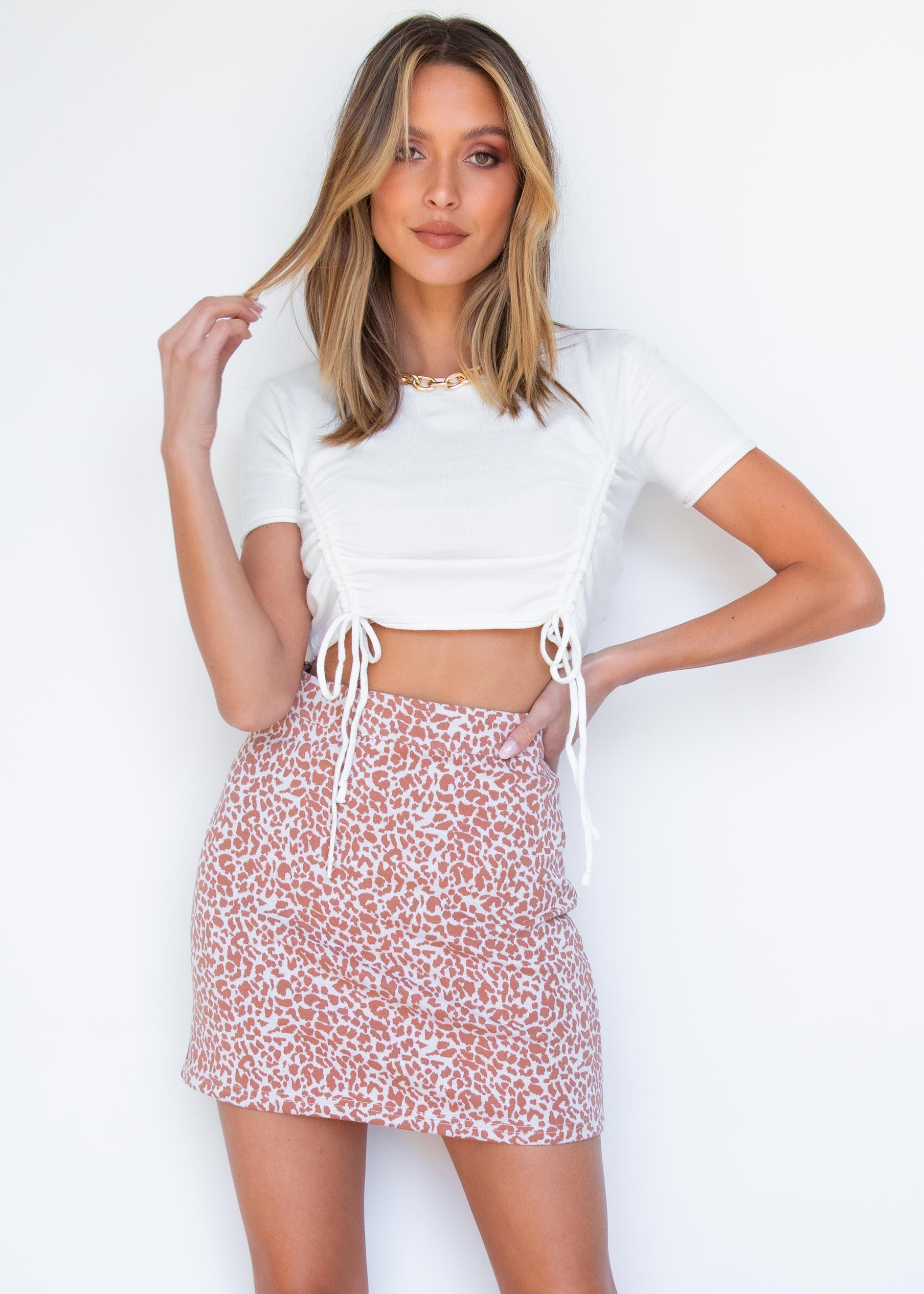 Farrah Ruched Knit Crop - Cream