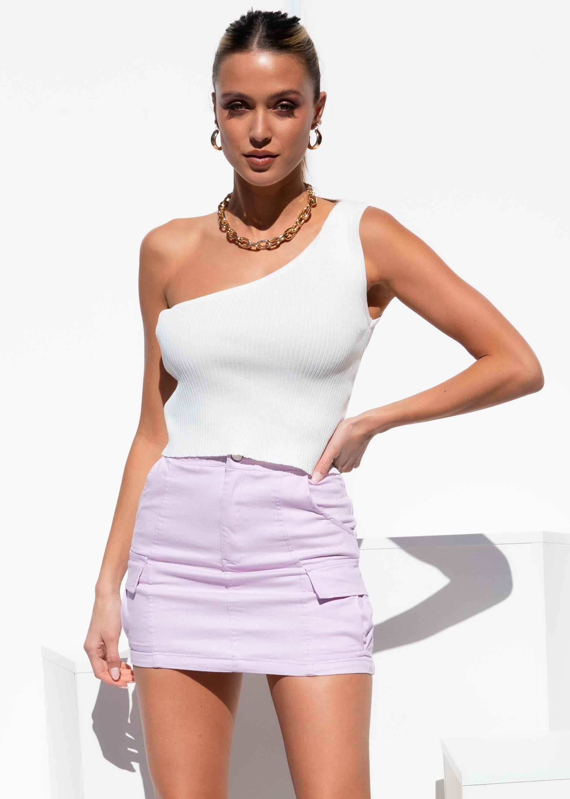 Lolita Denim Mini Skirt - Lilac