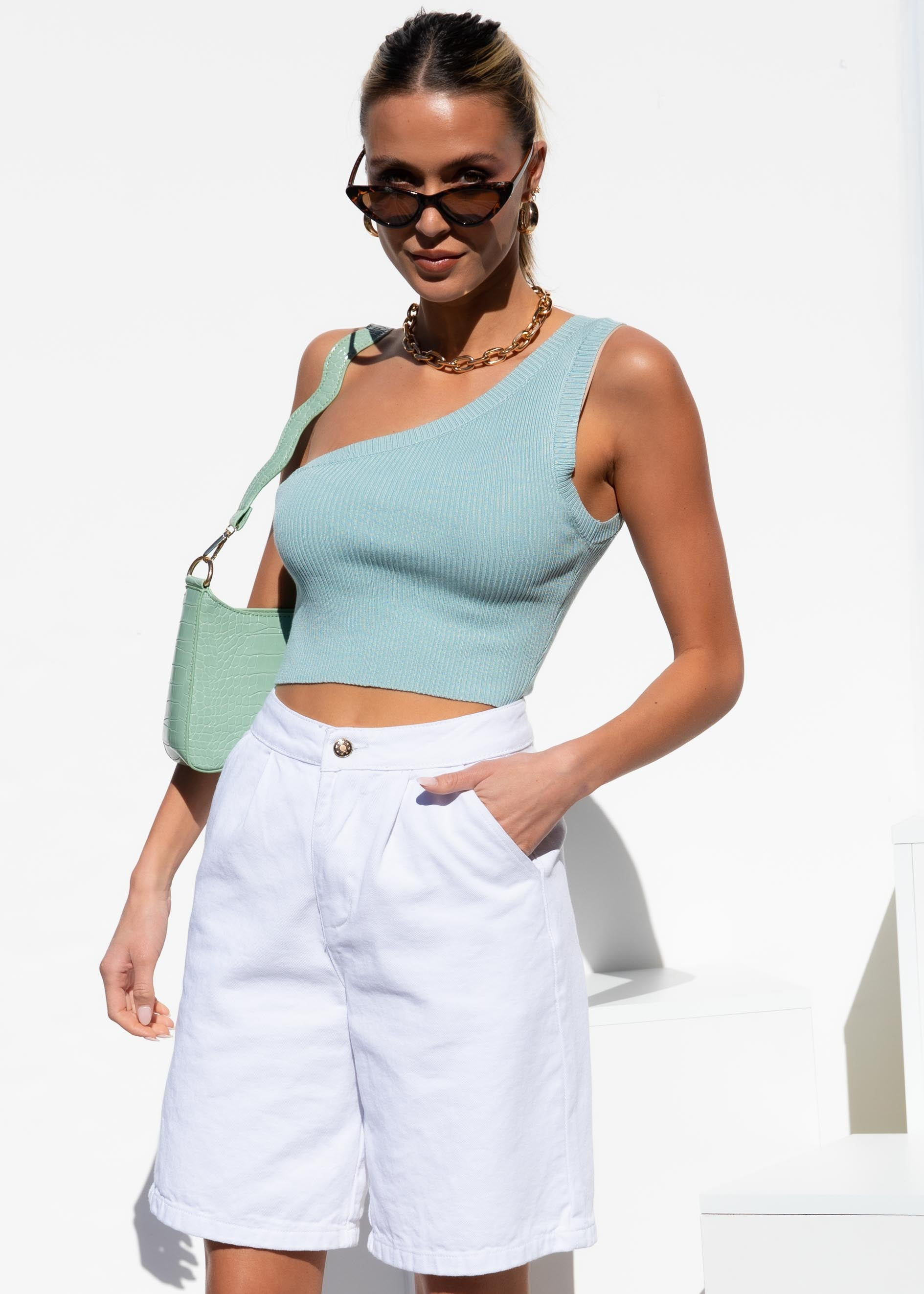 Cheryl One Shoulder Crop - Turquoise