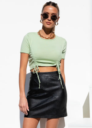 Farrah Ruched Knit Crop - Mint