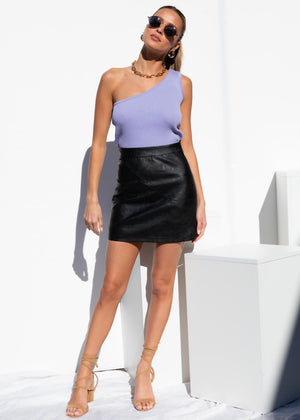 Sara PU Mini Skirt - Black