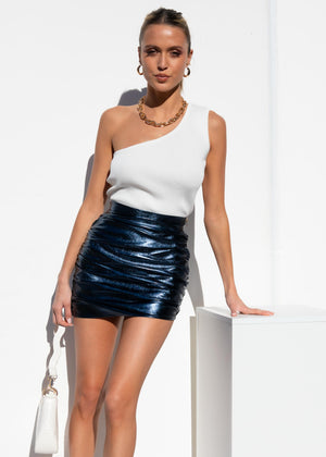 The Glow Up Mini Skirt - Navy