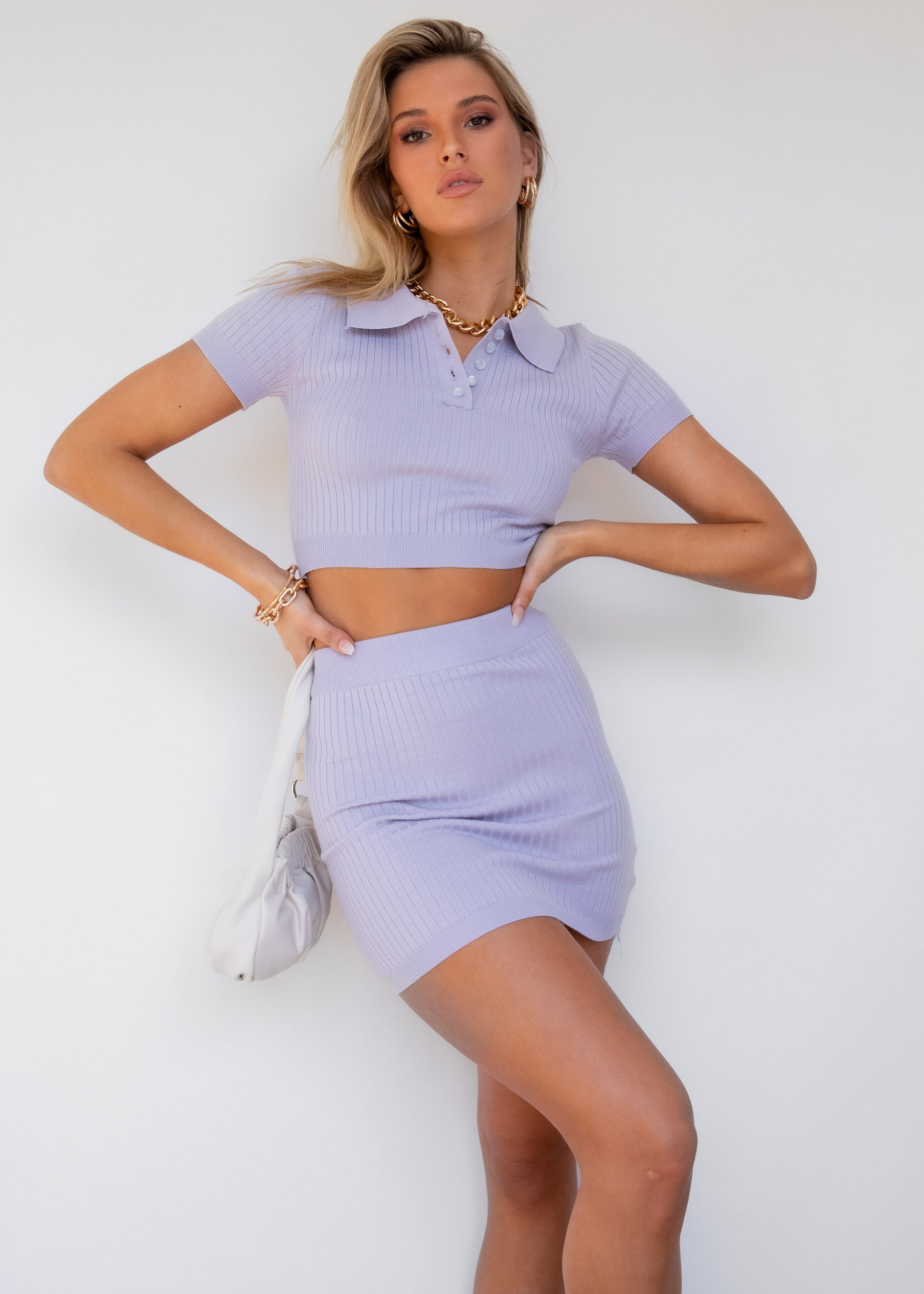 Won't Stop Knit Polo Top - Lilac