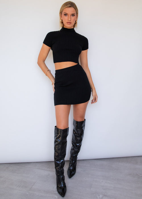 Clouded Knit Mini Skirt - Black