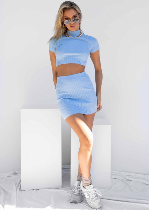 Clouded Knit Mini Skirt - Blue