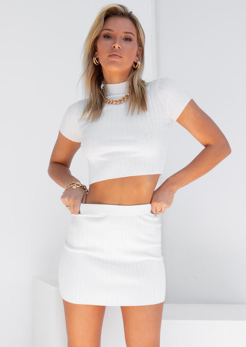 Clouded Knit Crop - White