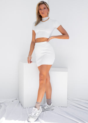 Clouded Knit Mini Skirt - White