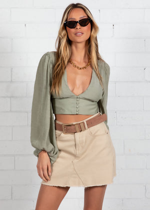 Rosa Cropped Blouse - Sage