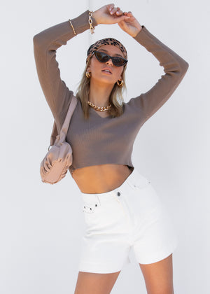 Panes Knit Top - Latte
