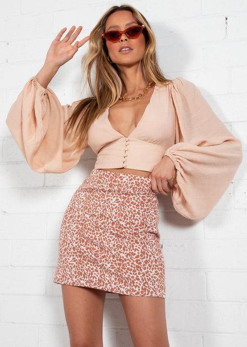 Rosa Cropped Blouse - Beige