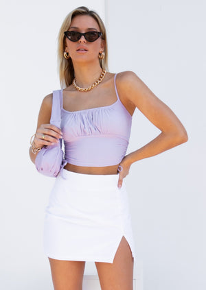Cece Ruched Crop - Lilac