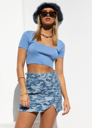 Charmaine Knit Crop - Blue