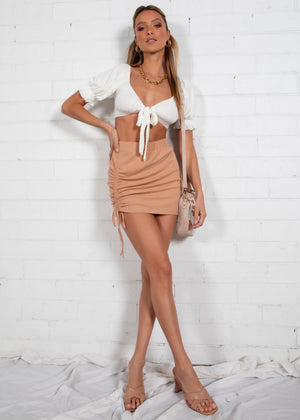 Helena Ruched Skirt - Camel