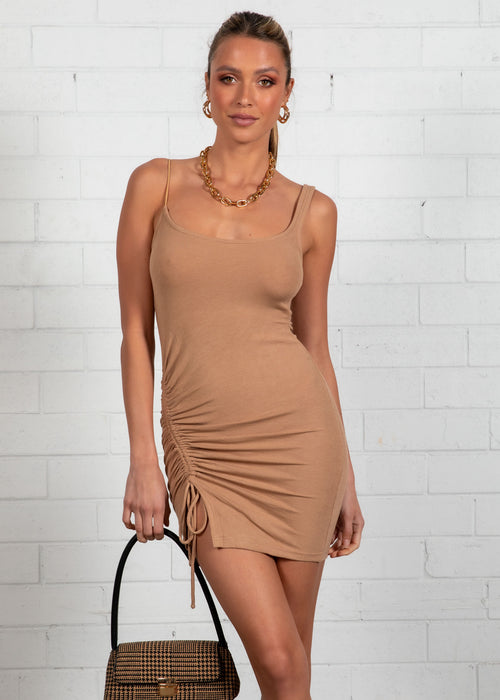 Bieber Mini Dress  - Camel