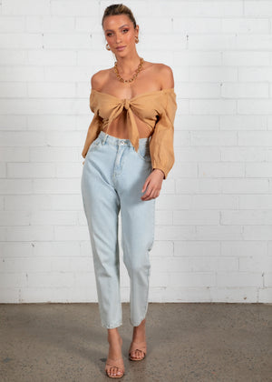 Toasted Tie Up Crop - Sand