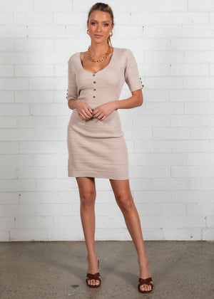 Charlie Knit Mini Dress - Beige