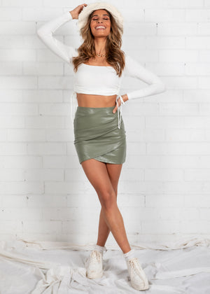 Gianna PU Skirt - Khaki