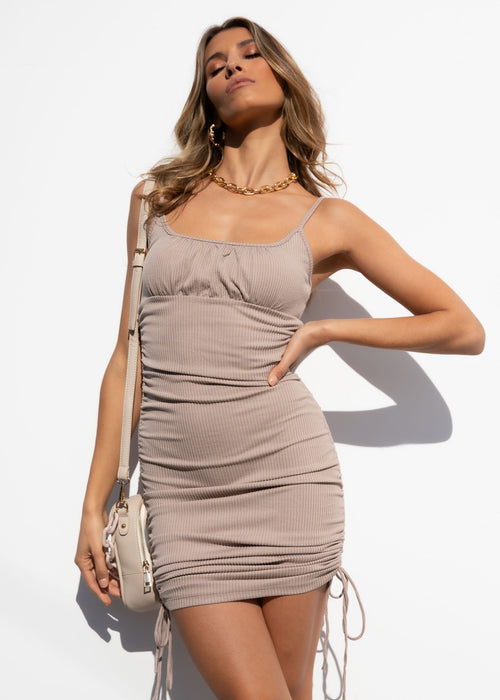 Sweet Disposition Mini Dress - Mocha