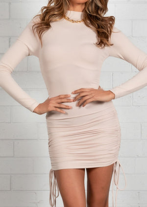Chanelle Mini Ruched Dress - Beige