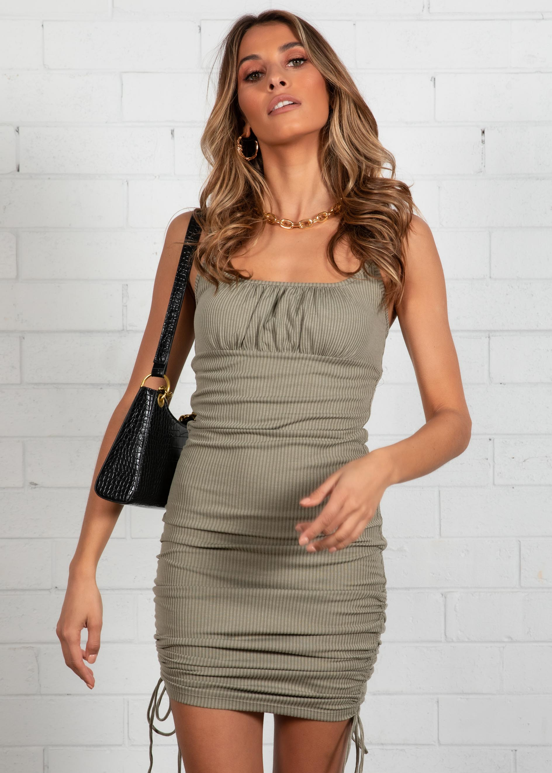 Sweet Disposition Mini Dress - Khaki