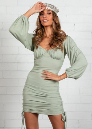 Silvi Ruched Mini Dress - Khaki