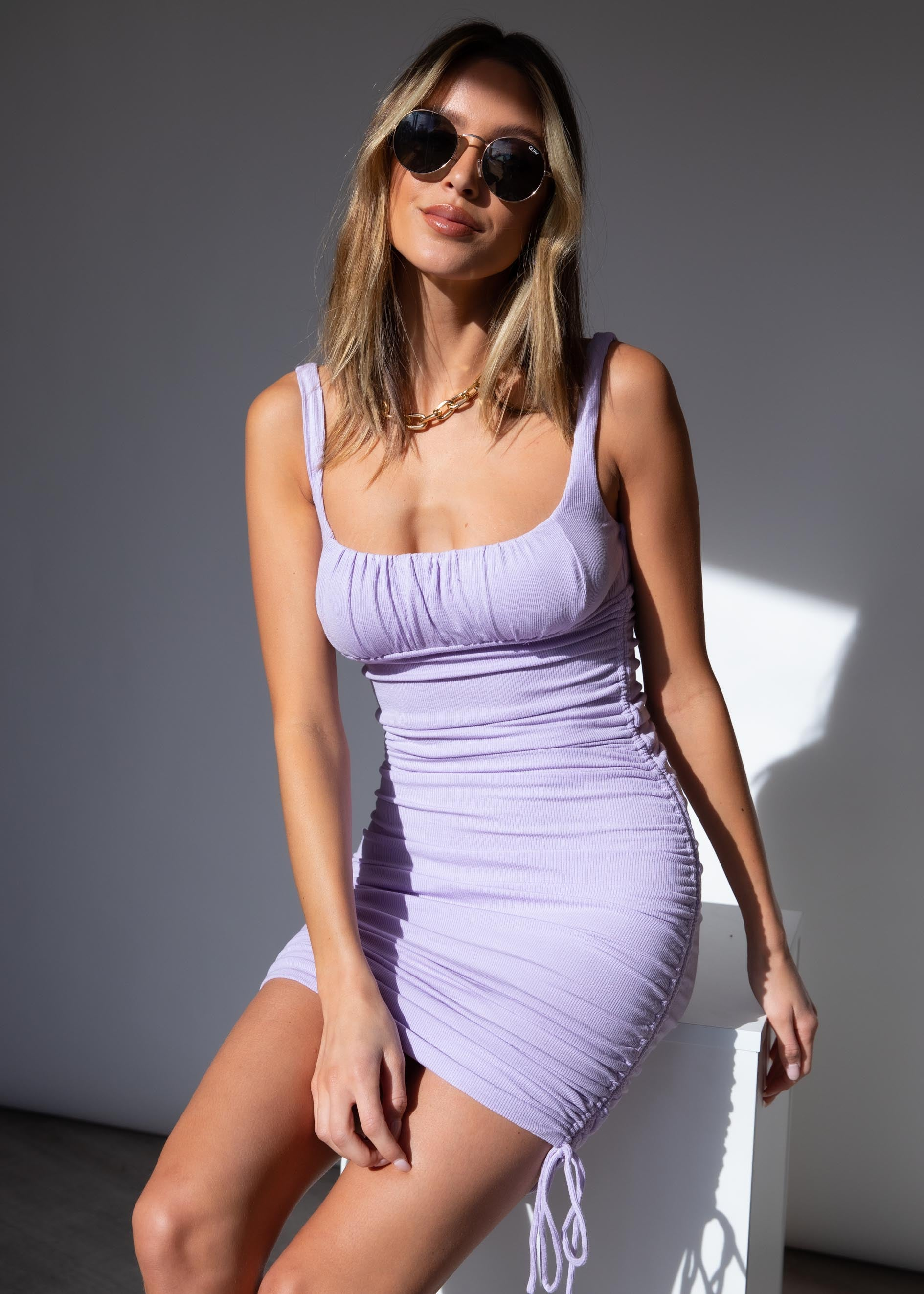 Calya Ruched Dress - Lilac
