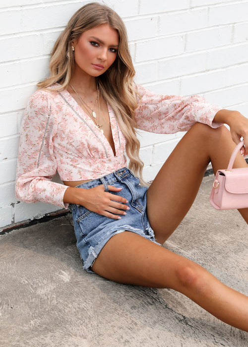 Amity Cropped Blouse - Pink Floral
