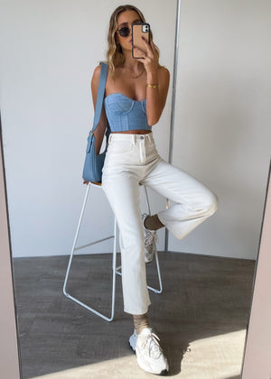 Here Comes Trouble Crop - Light Denim