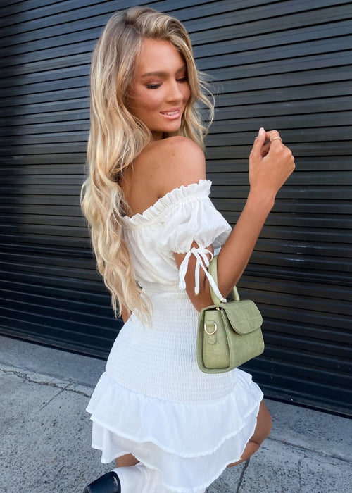 May Shirred Mini Dress - Ivory