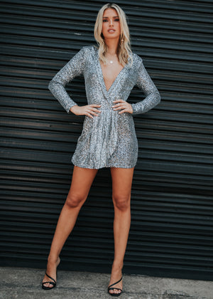 Make Your Move Mini Dress - Dark Sliver