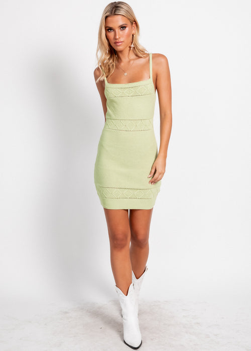 Rose Knit Mini Dress - Pistachio