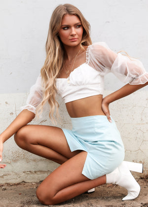 See Through You Cropped Blouse - White