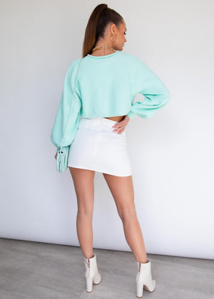 Karmen Cropped Sweater - Aqua