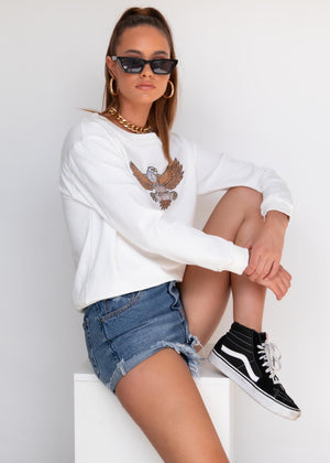 Wild Eagle Sweater - White