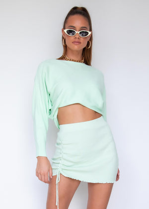Eleni Ruched Knit Mini Skirt - Mint