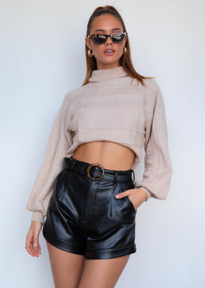 Esta Cropped Sweater - Camel