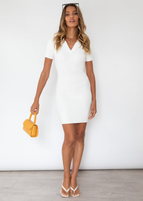 Talisha Knit Dress - White