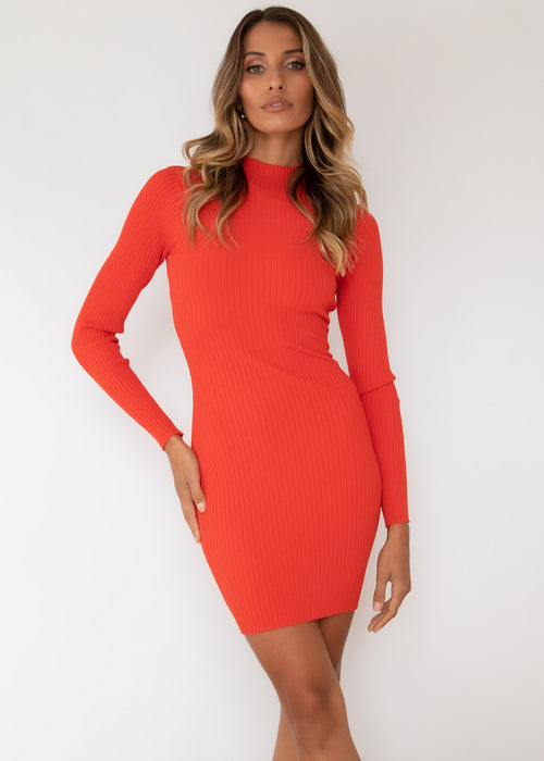 Liona Knit Dress - Scarlet